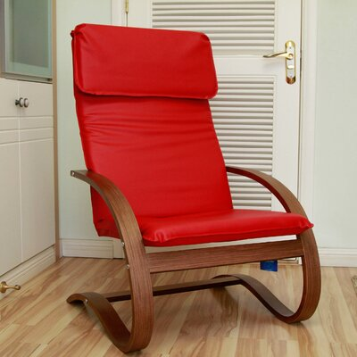 Argueta Faux Leather Lounge Chair Upholstery: Red
