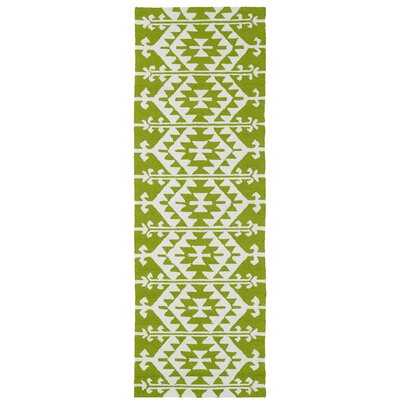 Lime Green/Ivory Indoor/Outdoor Area Rug Rug Size: Runner 26 x 8
