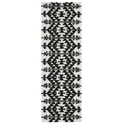 Handmade Black / Ivory Indoor / Outdoor Area Rug Rug Size: Runner 26 x 8