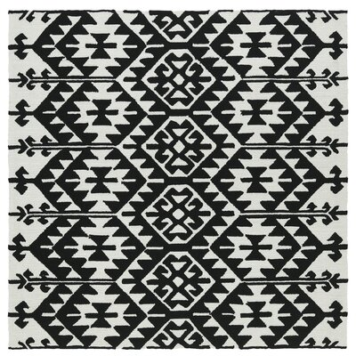 Handmade Black / Ivory Indoor / Outdoor Area Rug Rug Size: Square 59