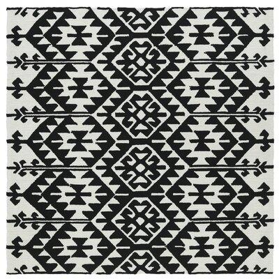 Handmade Black / Ivory Indoor / Outdoor Area Rug Rug Size: Square 79
