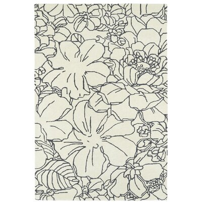 Hand-Tufted Ivory/Grey Area Rug Rug Size: 2' x 3'