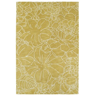 Hand-Tufted Yellow/Ivory Area Rug Rug Size: Rectangle 5' x 7'9