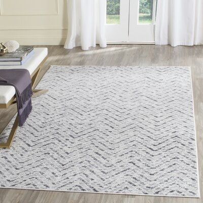 Schacher Ivory/Charcoal Area Rug Rug Size: Rectangle 3 x 5