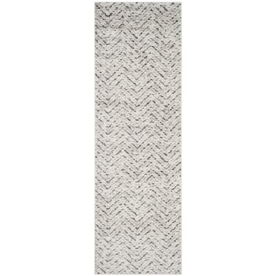 Schacher Ivory/Charcoal Area Rug Rug Size: Runner 26 x 12