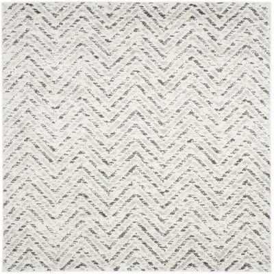 Schacher Ivory/Charcoal Area Rug Rug Size: Square 4