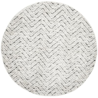 Schacher Ivory/Charcoal Area Rug Rug Size: Round 4