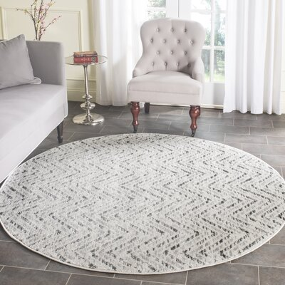 Schacher Ivory/Charcoal Area Rug Rug Size: Round 6