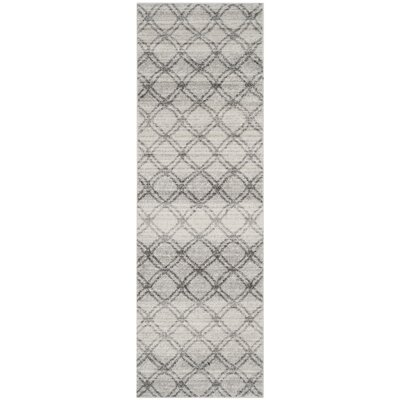 Schacher Silver/Charcoal Area Rug Rug Size: Runner 26 x 12
