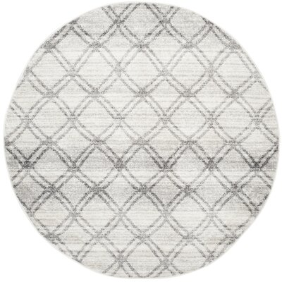 Schacher Silver/Charcoal Area Rug Rug Size: Round 6