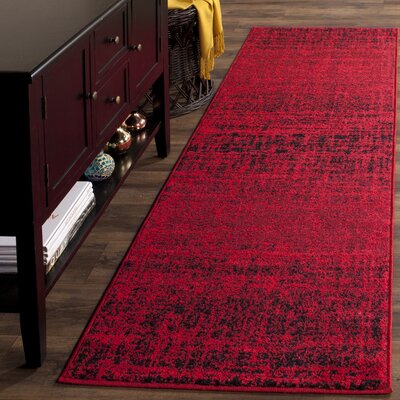 Schacher Red/Black Area Rug Rug Size: Runner 26 x 8