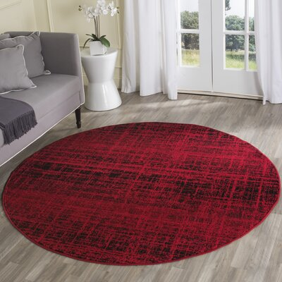 Schacher Red/Black Area Rug Rug Size: Round 6