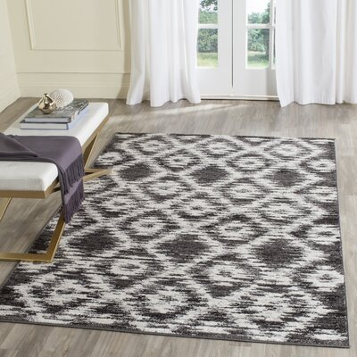 Schacher Charcoal/Ivory Area Rug Rug Size: Rectangle 4 x 6