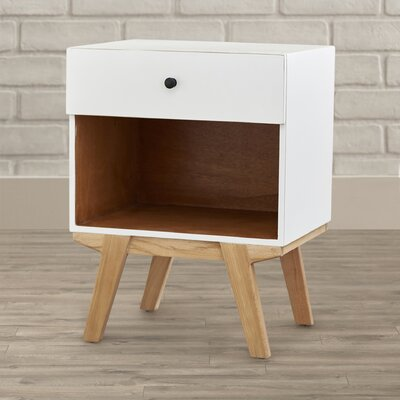 Amoroso 1 Drawer Nightstand Color: White