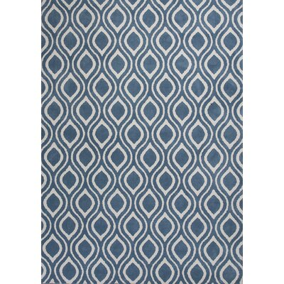 Moravian Hand-Tufted Blue/Ivory Area Rug Rug Size: 33 x 53
