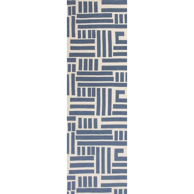 Moravian Hand-Tufted Blue/Ivory Area Rug Rug Size: Runner 23 x 76