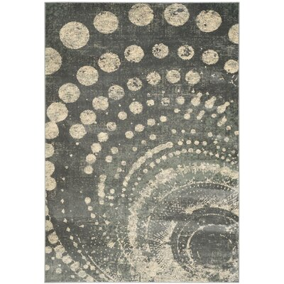 Stave Light Gray Area Rug Rug Size: 53 x 76