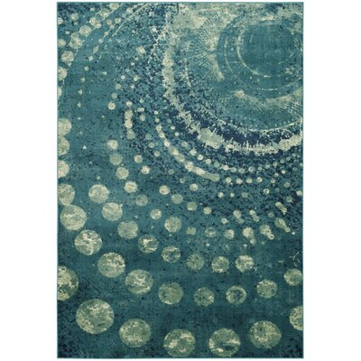 Stave Turquoise Area Rug Rug Size: 5'3