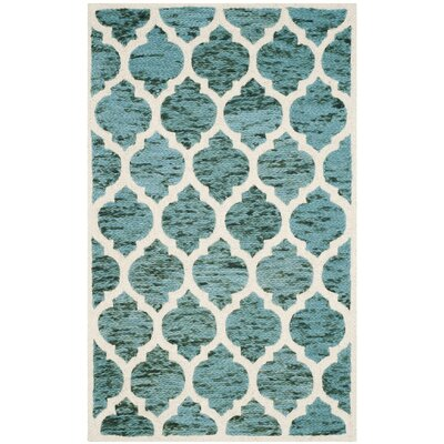 Short Hand-Loomed Turquoise/Ivory Area Rug Rug Size: Rectangle 5 x 8