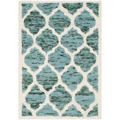 Short Hand-Loomed Turquoise/Ivory Area Rug Rug Size: Rectangle 2 x 3