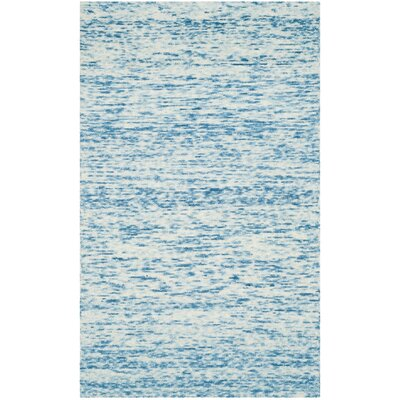 Short Hand-Loomed Blue Area Rug Rug Size: 5 x 8