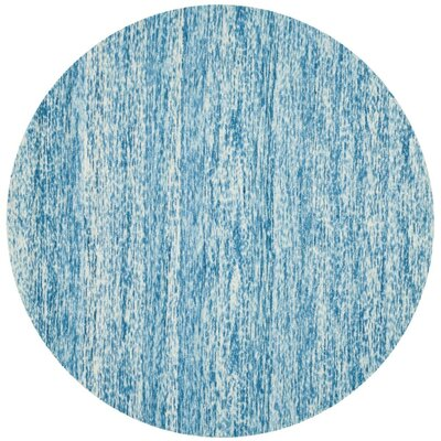 Short Hand-Loomed Blue Area Rug Rug Size: Round 6