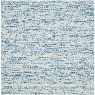 Short Hand-Loomed Blue Area Rug Rug Size: Square 6