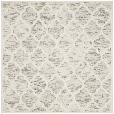 Short Hand-Loomed Light Brown/Ivory Area Rug Rug Size: Square 6'