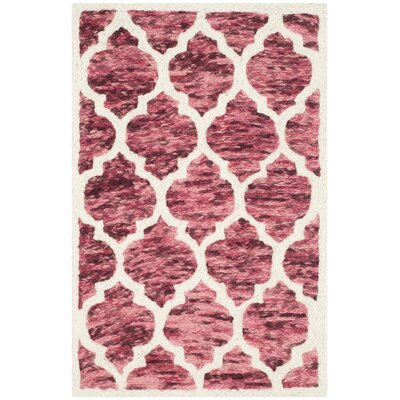 Short Hand-Loomed Red/Ivory Area Rug Rug Size: 2 x 3