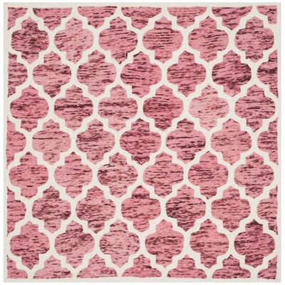 Short Hand-Loomed Red/Ivory Area Rug Rug Size: Square 6