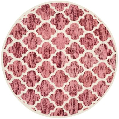 Short Hand-Loomed Red/Ivory Area Rug Rug Size: Round 6'