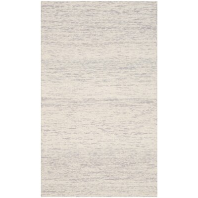 Short Hand-Loomed Silver Area Rug Rug Size: Rectangle 3 x 5