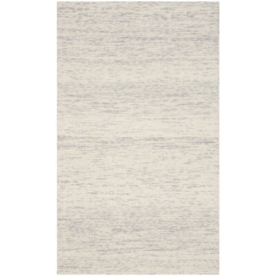 Short Hand-Loomed Silver Area Rug Rug Size: 3 x 5