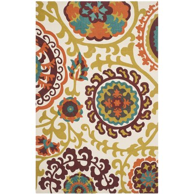 Yap Hand-Loomed Red/Yellow Area Rug Rug Size: Rectangle 23 x 39