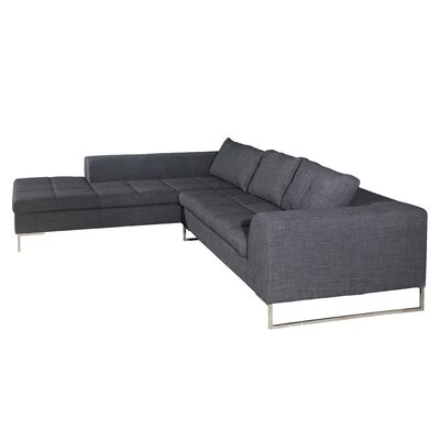 Rollins Sectional Upholstery: Charcoal, Orientation: Right Arm Facing
