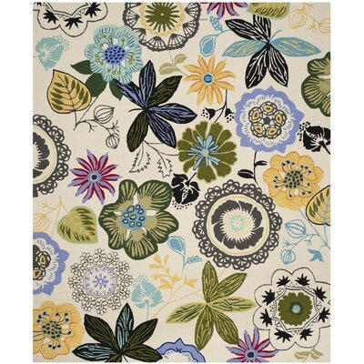 Forsyth Road Hand-Hooked Ivory Indoor / Outdoor Area Rug Rug Size: 36 x 56