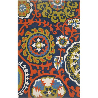 Columbus Circle Hand-Loomed Light Blue/Orange Area Rug Rug Size: 2'3
