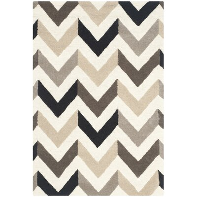 Shaler Hand-Tufted Ivory/Black Area Rug Rug Size: Rectangle 4 x 6