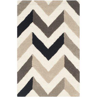 Shaler Hand-Tufted Ivory/Black Area Rug Rug Size: Rectangle 26 x 4