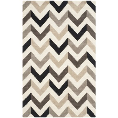 Shaler Hand-Tufted Ivory/Black Area Rug Rug Size: Rectangle 5 x 8