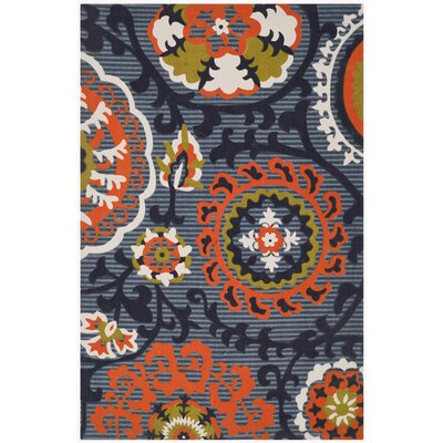 Columbus Circle Hand-Loomed Blue/Orange Area Rug Rug Size: 2'3