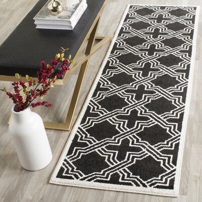 Waverly Place Black/Ivory Indoor/Outdoor Area Rug Rug Size: Runner 23 x 7