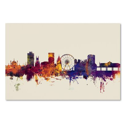 Brighton England Skyline Graphic Art on Wrapped Canvas