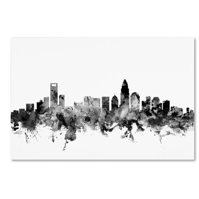 Charlotte NC Skyline B&W Graphic Art on Wrapped Canvas Size: 12