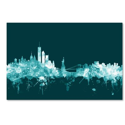 New York Skyline Teal Graphic Art on Wrapped Canvas