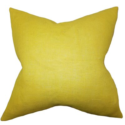 Portsmouth Solid Burlap Throw Pillow Color: Yellow, Size: 18 H x 18 W