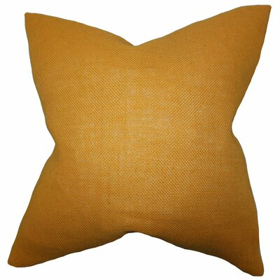 Portsmouth Solid Burlap Throw Pillow Color: Mango, Size: 18 H x 18 W
