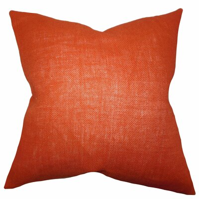 Portsmouth Solid Burlap Throw Pillow Color: Orange, Size: 18