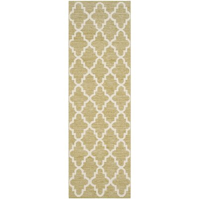 Shevchenko Place Hand-Woven Green / Ivory Area Rug Rug Size: Runner 23 x 7