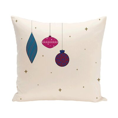 Ryma Decorative Holiday Print Throw Pillow Size: 16 H x 16 W, Color: Ivory/Pink